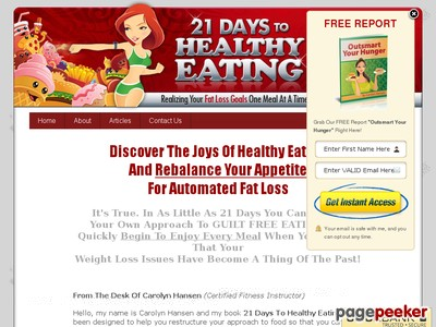 21 Days To Healthy Eating: Realizing Your Fat Loss Goals One Meal At A...