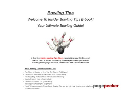Bowling Tips - Insider Bowling Tips E-book Ultimate Bowling Guide