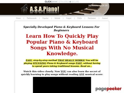 A.S.A.Piano! Learn To Play Easy Beginners Piano & Keyboard Songs Witho...