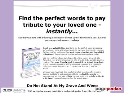 Do Not Stand At My Grave And Weep - Over 250 funeral poems, instantly