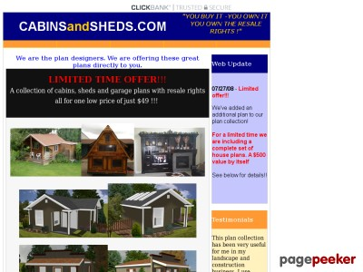 Wow! Own The Rights To Blueprints-cabins, Sheds, Garages, More!!