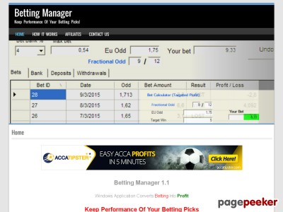 Betting Manager 1.1 - Windows Application Converts Betting Into Profit